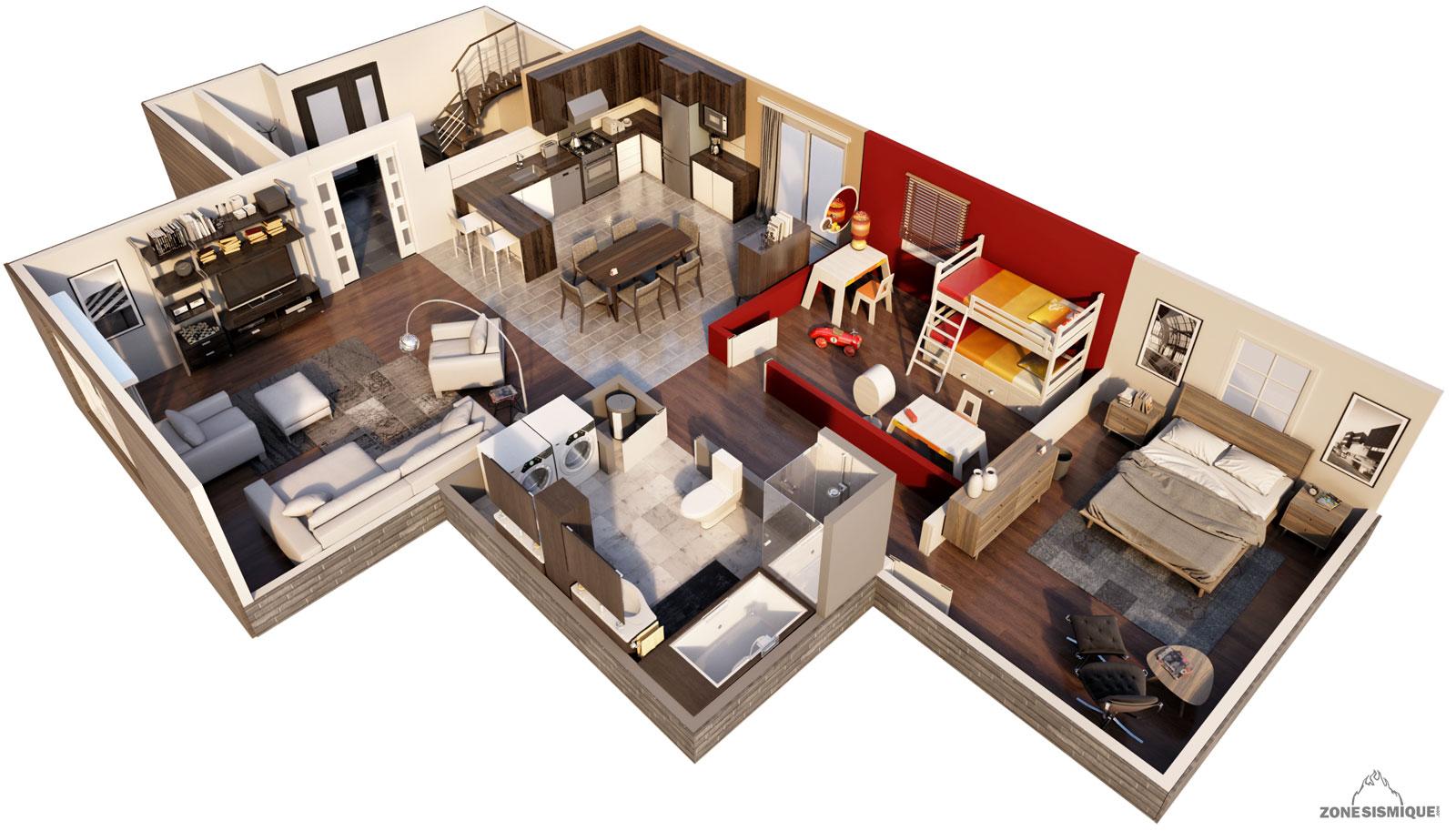 Plan de maison 3d moderne for Plan de maison moderne 3d